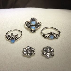 3 p Silver Earrings & 3 Silver Matching Rings Set